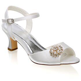 Satin Riemchenpumps Brautschuhe Peeptoes Chunky Heel Weiß Schönes Sandalen