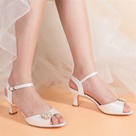 Peeptoes Tiras Tacon Medio Sandalias Mujer Satin De Cristal Tacon Ancho Elegantes Zapatos Novia