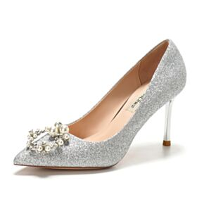 Luxury Sparkly Pumps Dress Shoes 3 inch High Heel Glitter Stilettos Bridal Shoes Quinceanera Shoes Pointed Toe