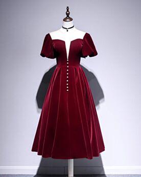 Low Cut Vintage Cocktail Dress Fit And Flare Tea Length Semi Formal Dresses Velvet Simple