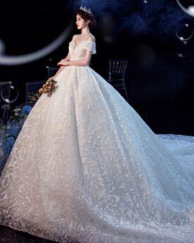 Off Shoulder Mit Schleppe Tüll Prinzessin Ivory Pailletten Tiefer Ausschnitt Kurzarm Elegante Brautkleid Spitzen Perlen Luxus