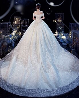 Plunge Ball Gowns Elegant Bridal Gown Lace Sequin Ivory Open Back Gorgeous Off The Shoulder