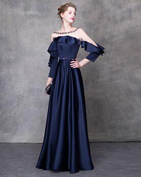 セクシー ロング エンパイア オープンバック ストラップ レス フリル ネイビー パーティー ドレス 結婚式 母親 ドレス シースルー フォーマル イブニングドレス チュール 59720180422