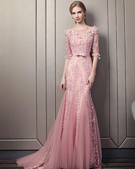 Open Back Lace Scoop Neck Elegant Long Bohemian Prom Dresses Half Sleeve Blushing Pink Formal Evening Dress