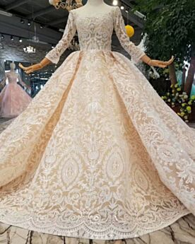 Wedding Dress Backless Ball Gowns Lace 2019 Beautiful Long Sleeved Beige Long