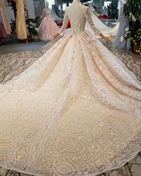 Bruidsjurken Open Rug Lange Mouw Baljurk Elegante Kanten