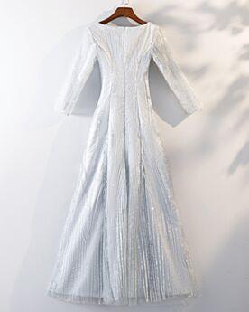 Acampanados Juvenil Tul Purpurina Blancos Vestidos De Coctail Para Fiesta Brillantes Largos