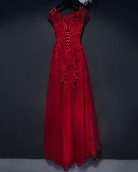 Tüll Empire Burgunderrot Lange Perlen Spitzen Abendkleider Applikationen Trauzeugin Kleid