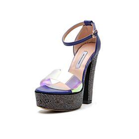 Block Heel Leather Platform Royal Blue Stilettos Over 5 inch High Heeled Sandals Fashion Sparkly