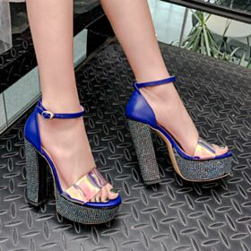 Block Heel Leather Platform Royal Blue Stilettos Over 5 inch High Heeled Sandals Fashion Sparkly