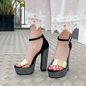 Tacon Alto Más de 13 cm Brillantes Sandalias De Plataforma Stilettos Modernos