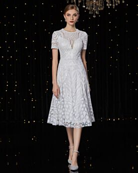White Spring Tea Length Fit And Flare Sparkly Cocktail Dresses Graduation Dress Sequin
