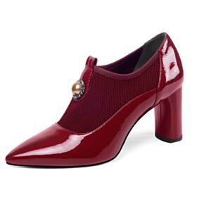 Blockabsatz Rot Chunky Heel 2019 Stiefeletten Lack Spitz Zeh Business Schuhe Damen