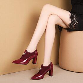 レッド カジュアル ハイヒール 本革 チュール ファッション 5919091012