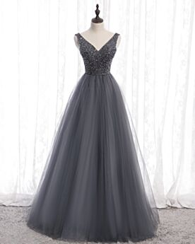 Prom Dress Vintage Long Low Cut Beaded Gray Ball Gowns