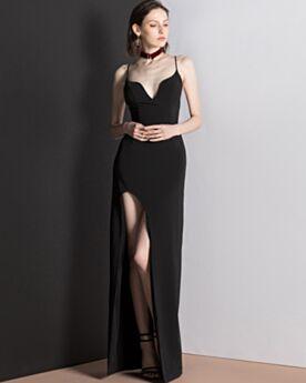 Escotados Negros Espalda Descubierta Gasa Largos Slip Dress Dividido Vestidos De Noche