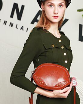 Medie Borse Donna Con Borchie Pelle Crossbody Bags Marrone Belle Martellata Moda Borse Tracolla