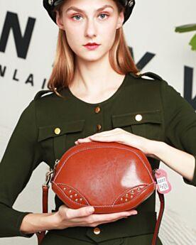 Cute Crossbody Studded Leather Shoulder Bag Leather Strap