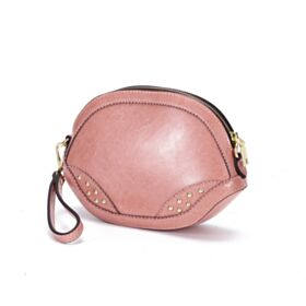 Blush Pink Crossbody Leather Shoulder Bag Fashion Cute Full Grain Bag