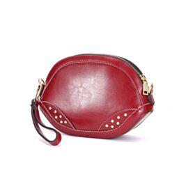 Full Grain Cute Shoulder Bag Leather Crossbody Womens Handbag Burgundy