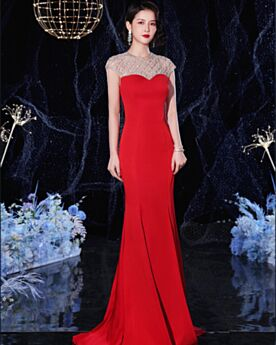Red Formal Evening Dress Beading Mermaid Summer Long Charming Open Back