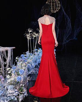 Red Formal Evening Dress Beading Mermaid Summer Long Charming Open Back