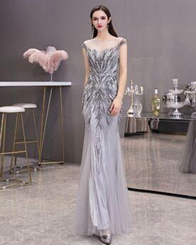 Meerjungfrau Tüll Pailletten Rückenfreies Grau Tiefer Ausschnitt Ballkleider Abendkleid