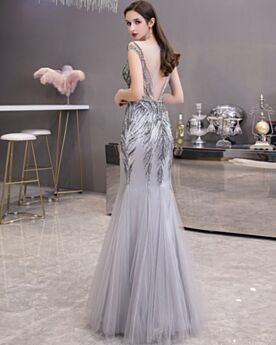 Sequin Gray Prom Dresses Long Open Back Low Cut Evening Dresses Charming