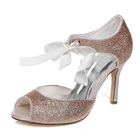 Oro Rosa Tacon Alto Brillantes Sandalias Peeptoes Zapatos Fiesta 2020 Zapatos De Boda Stilettos Con Purpurina