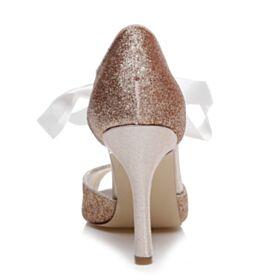 Glitter Chaussure De Bal Chaussure Mariée Noeud Nu Pied Talon Aiguille Or Rose Scintillante Bout Ouvert