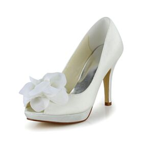 Eleganti Scarpe Da Sposa Di Raso Avorio Spuntate 10 cm Tacco Alto Decollete Con Tacco A Spillo