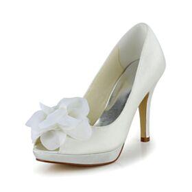 Pumps Bruidsschoenen Ivory Peep Toe Stiletto Hoge Hakken Elegante