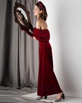 Plissee Schulterfreies Halbe Ärmel Burgunderrot Knöchellänge Sexy Abendkleid Festliche Kleider Empire Rückenfreies Off Shoulder Vintage Samt