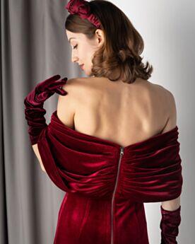 Robe Soirée Epaule Nu Longueur Cheville Sexy Empire Velours Princesse Demi Manche Dos Nu Rétro