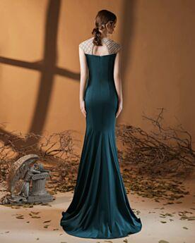Rundhalsausschnitt Satin Brautmutterkleid Rückenfreies Brautjungfernkleid Perlen Kleider Hochzeitsgäste Elegante Kleider Für Festliche Lange Schlichte Abendkleider