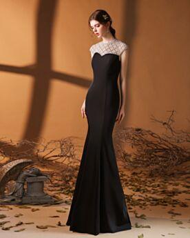 Abendkleider Schwarz Satin Rundhalsausschnitt Elegante Meerjungfrau Trauzeugin Kleid Kleider Für Festliche