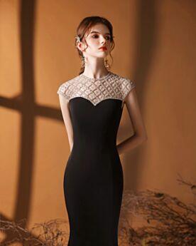 ブライズ メイド ドレス ブラック ビーズ ノースリーブ エレガント サテン ロング フォーマル イブニングドレス 5920270591-2
