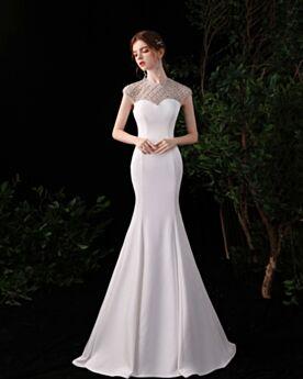 ホワイト エレガント フォーマル イブニングドレス 半袖 ロング サテン マーメイド トレーン 5920270591-3