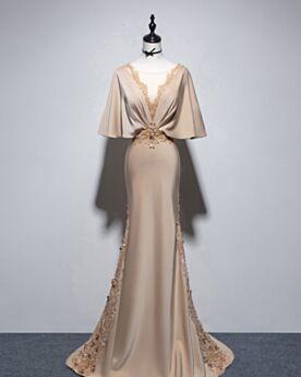 Lange Galakleid Applikationen Schönes Abendkleid Rückenfreies Glockenärmel V Ausschnitt Meerjungfrau