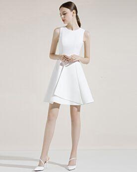 Simple Graduation Dresses Fit And Flare White Flounce Princess Satin Cocktail Dress