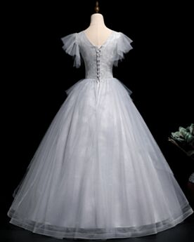 Appliques Quinceanera Dress Prom Dresses Backless Light Gray Ball Gowns Long Elegant
