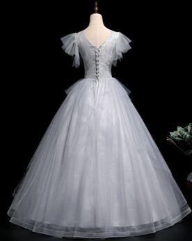 Prinzessin Hellgrau Quinceanera Kleider Lange Festliche Kleider Schönes Kurzarm Rückenausschnitt Ballkleider