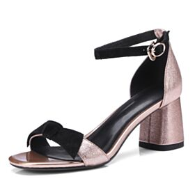 Mid Heels Summer Party Shoes Glitter Sandals Leather Sparkly Ankle Strap