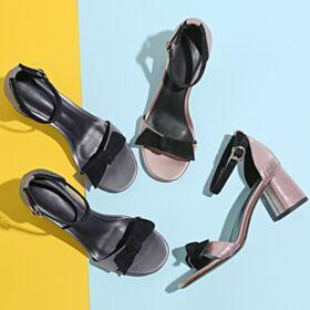 Glitter Estivi Sandali Oro Rosa Tacco Medio Con Fiocco Con Cinturino Alla Caviglia Tacco Largo Scarpe Da Cerimonia