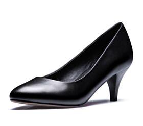 Chaussures De Bureau Simple Petit Talon Escarpins Noir Classique Talons Aiguilles Semelle Rouge