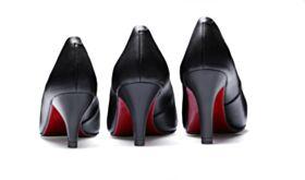 Sencillos De Suela Roja Zapatos Mujer Tacon Medio Negros Vestido De Oficina Clasico Stilettos