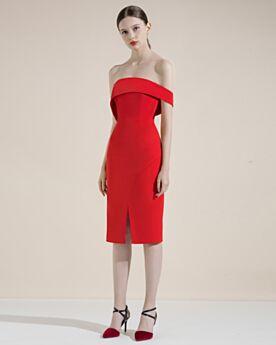 Peplum Knee Length Simple Strapless Slit Sheath Semi Formal Dress Sleeveless Cocktail Dress Backless Sexy Summer
