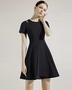 Hollow Out Semi Formal Dress Flounce Simple Short