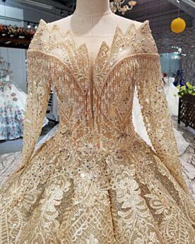 Hochzeitskleider Gold Lange Ärmel Petticoatkleid Pailletten Korsett