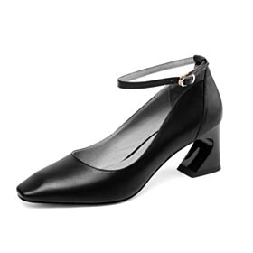 Leather Ankle Strap Pumps Classic Mid High Heeled Office Shoes Patent Thick Heel Round Toe